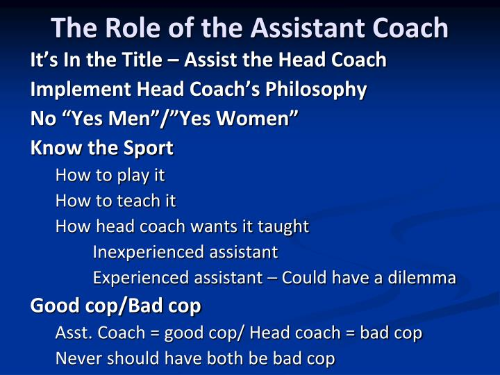 The Role of the Assistant Coach