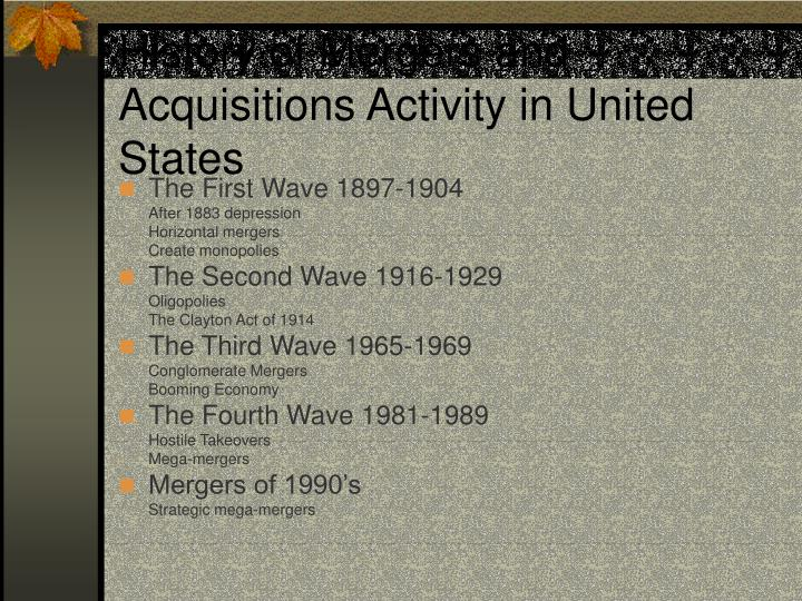 History of Mergers and Acquisitions Activity in United States