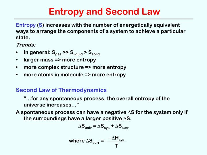 Entropy and second law