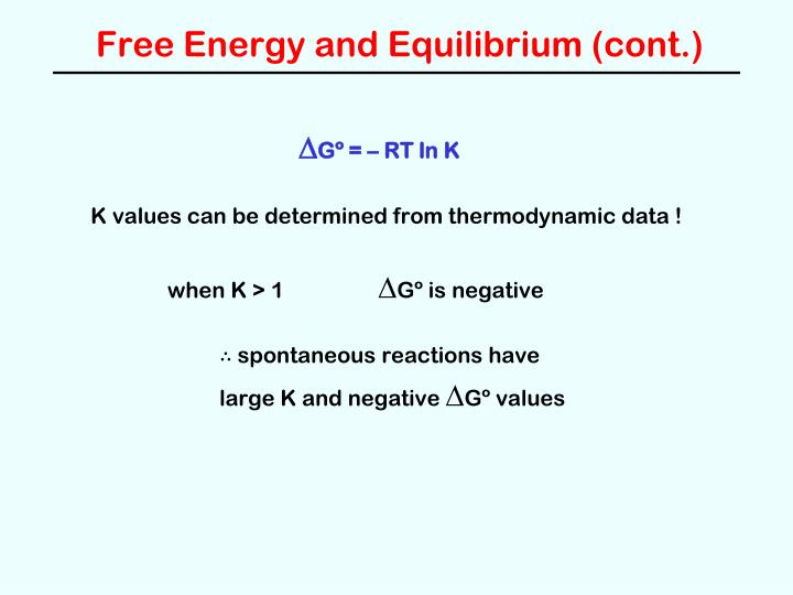 Free Energy and Equilibrium (cont.)