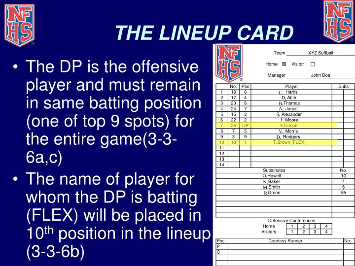 THE LINEUP CARD