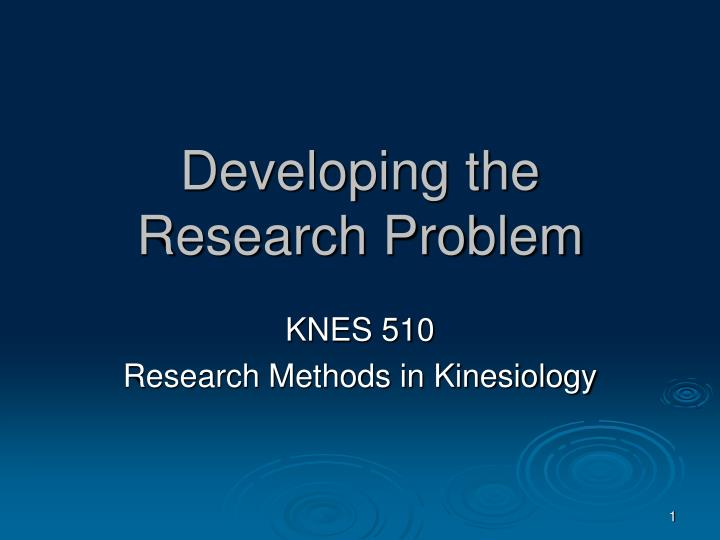 developing the research problem n.