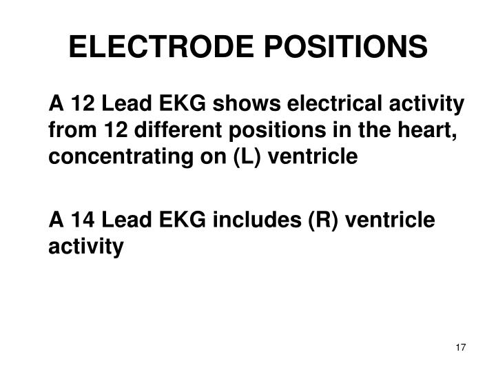 ELECTRODE POSITIONS