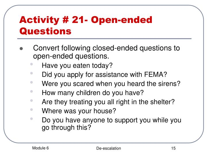 open ended ques On the mode of administering a questionnaire and responses to open-ended items robert m groves survey research center, university of michigan  measure differences between the modes for identical questions speed of ques-  open-ended.