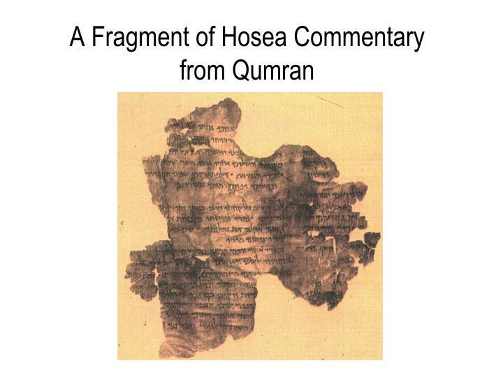 A Fragment of Hosea Commentary