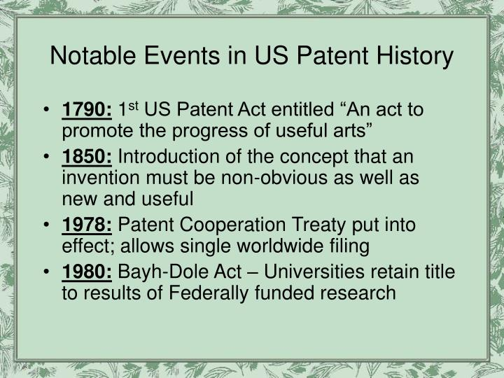 Notable Events in US Patent History