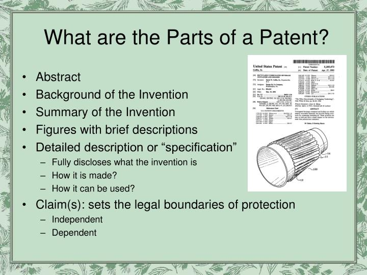 What are the Parts of a Patent?
