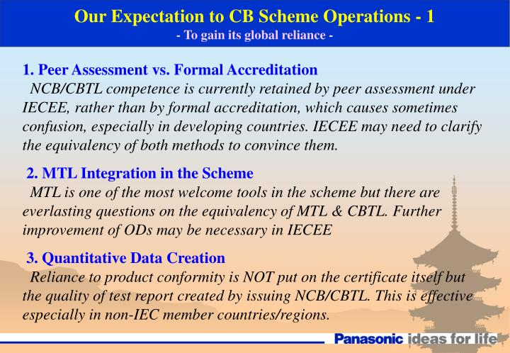 Our Expectation to CB Scheme Operations - 1