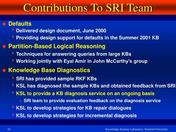 Contributions To SRI Team