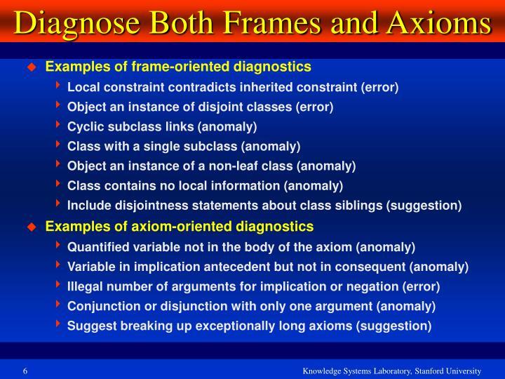 Diagnose Both Frames and Axioms