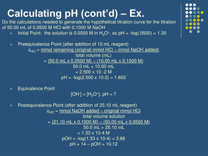 Calculating pH (cont'd) – Ex.