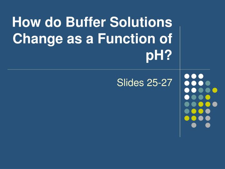 How do Buffer Solutions Change as a Function of pH?