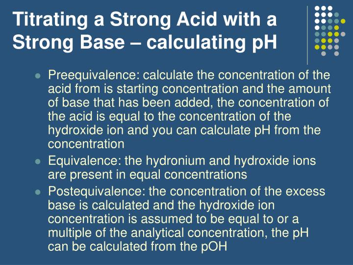 Titrating a Strong Acid with a Strong Base – calculating pH