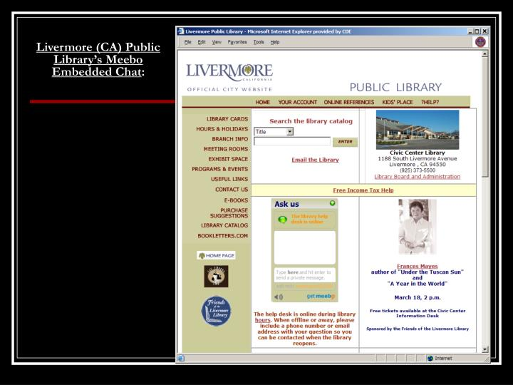 Livermore (CA) Public Library's Meebo  Embedded Chat