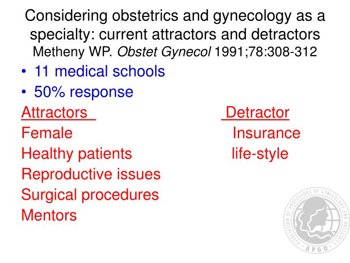 Considering obstetrics and gynecology as a specialty: current attractors and detractors