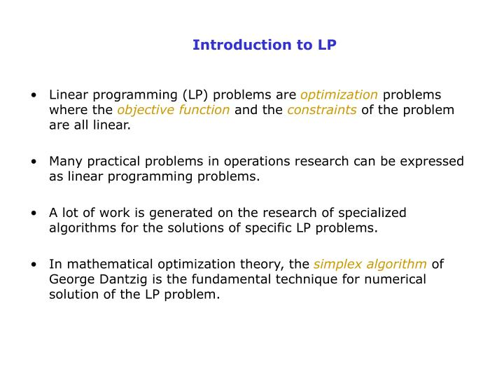 Properties of linear programming model in operations research.