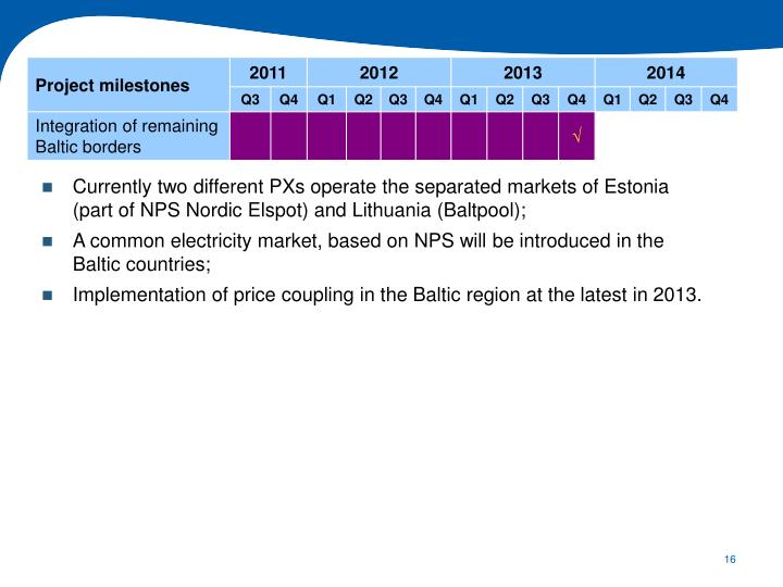 Currently two different PXs operate the separated markets of Estonia (part of NPS Nordic Elspot) and Lithuania (Baltpool);