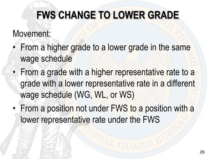 FWS CHANGE TO LOWER GRADE