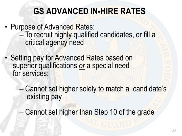 GS ADVANCED IN-HIRE RATES