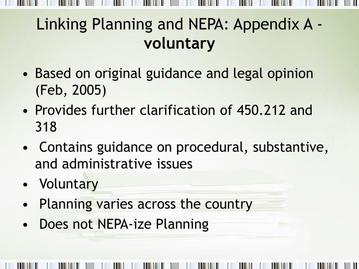 Linking Planning and NEPA: Appendix A -