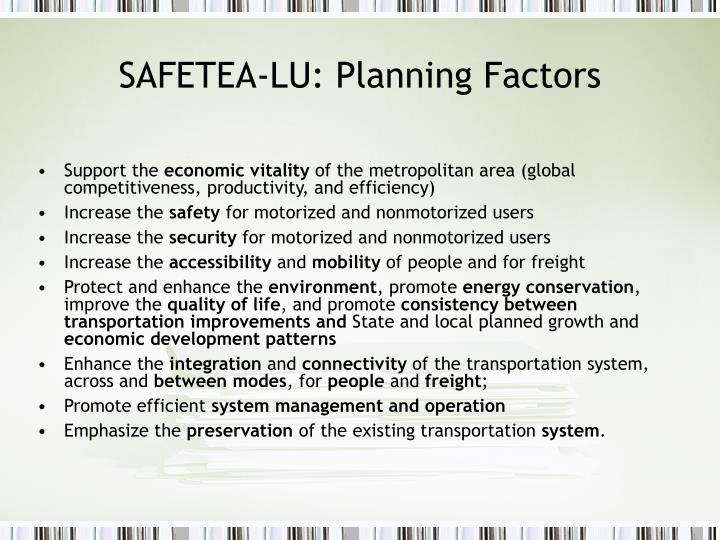 SAFETEA-LU: Planning Factors
