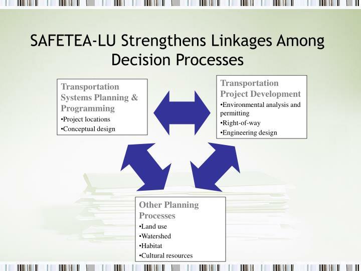 SAFETEA-LU Strengthens Linkages Among Decision Processes