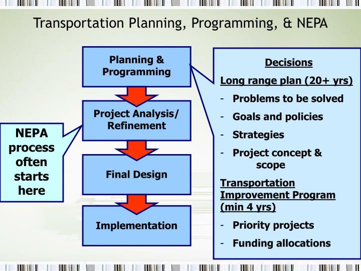 Transportation Planning, Programming, & NEPA