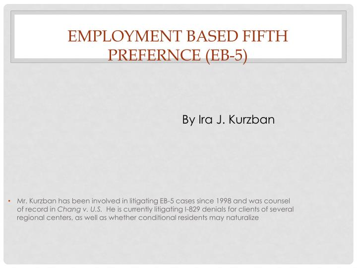 Employment based fifth prefernce eb 5