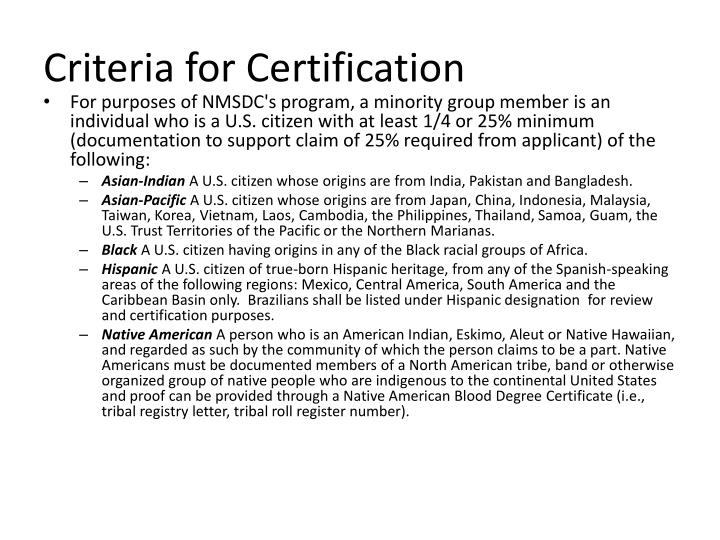 Criteria for Certification