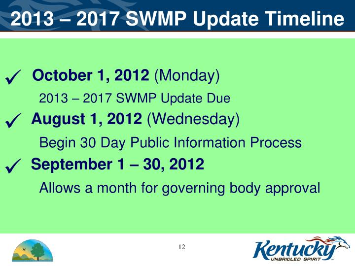2013 – 2017 SWMP Update Timeline