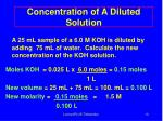 concentration of a diluted solution
