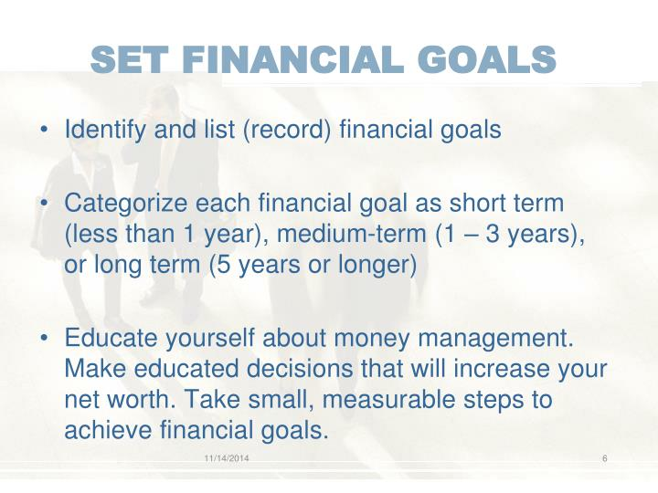 SET FINANCIAL GOALS