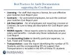 best practices for audit documentation supporting the cost report