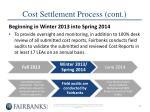 cost settlement process cont