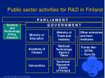 public sector activities for r d in finland
