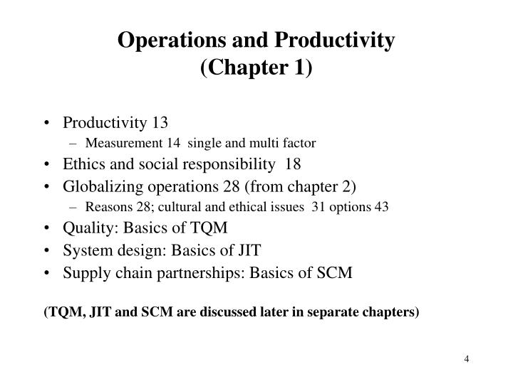 operations management and productivity essay Operations management essay below is an essay on operations management from anti essays labor productivity = output/ input.