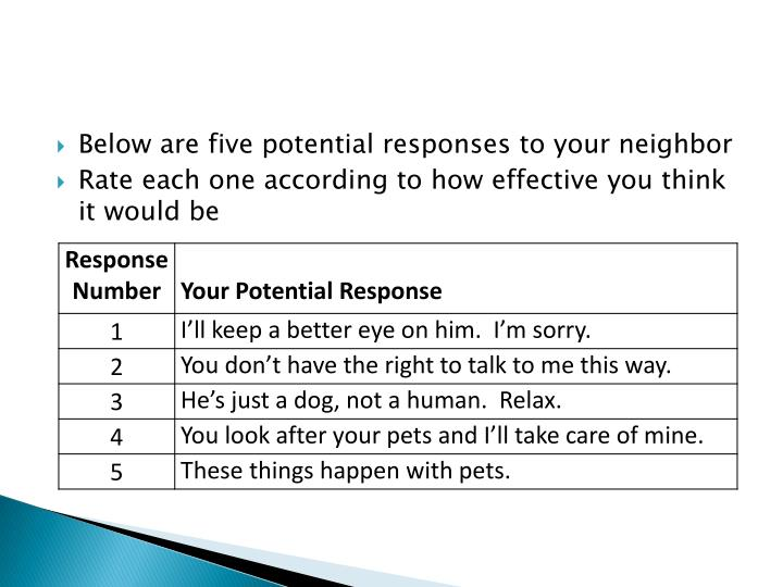 Below are five potential responses to your