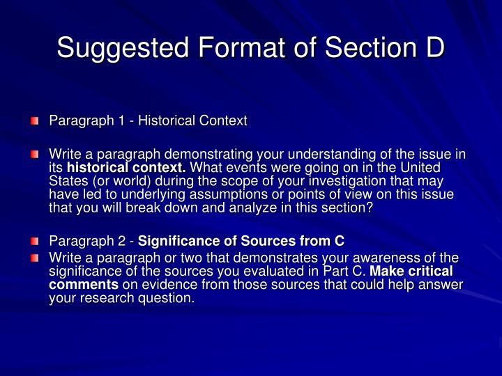 Suggested Format of Section D