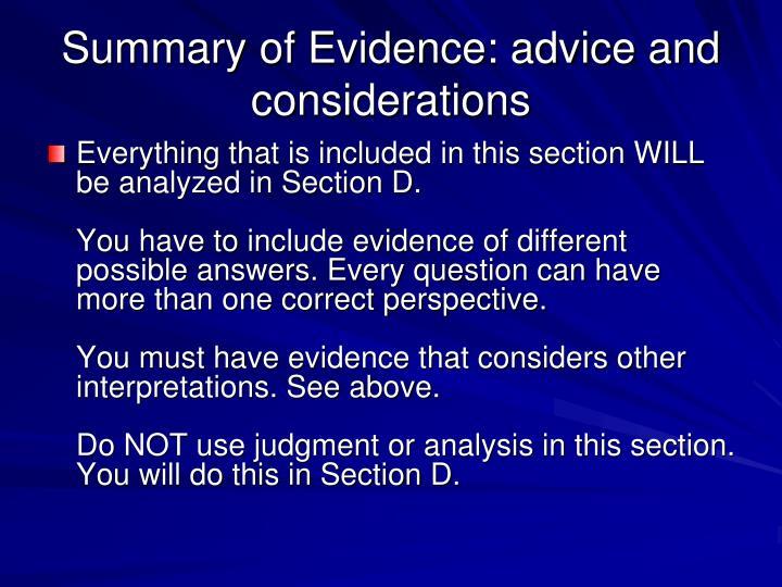 Summary of Evidence: advice and considerations