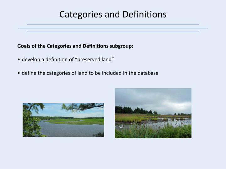 Categories and Definitions