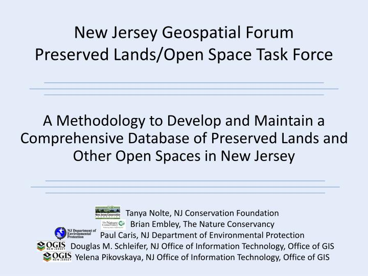 New jersey geospatial forum preserved lands open space task force
