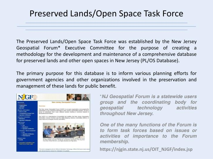 Preserved lands open space task force