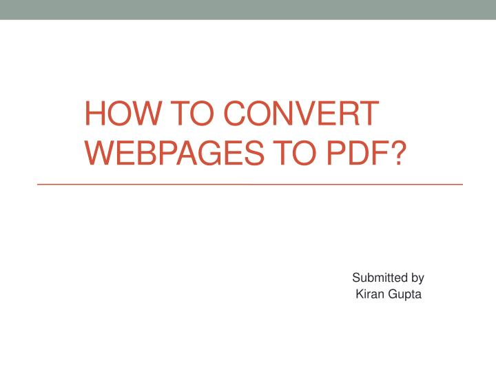 how to convert webpages to pdf n.