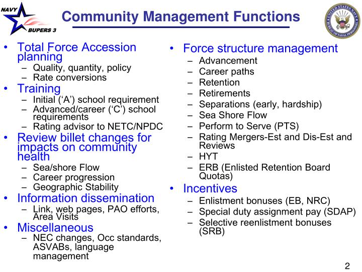 Community management functions