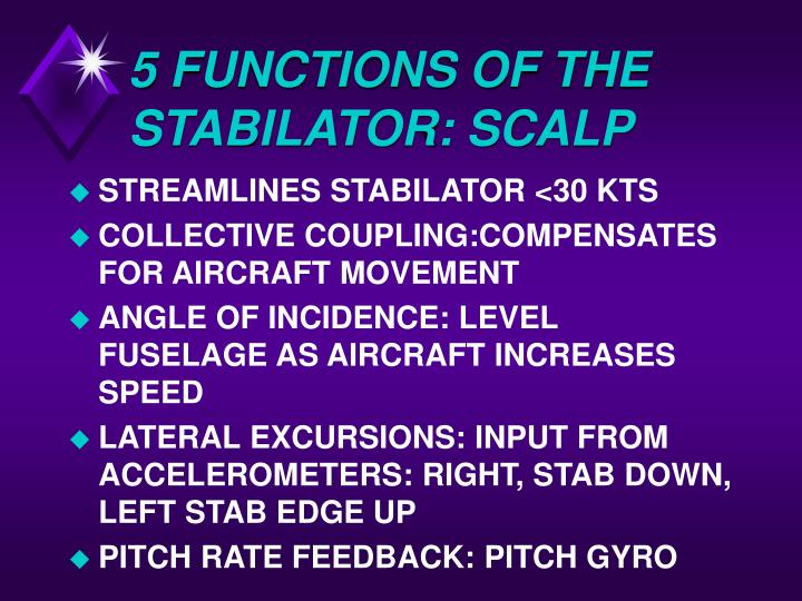 5 FUNCTIONS OF THE STABILATOR: SCALP