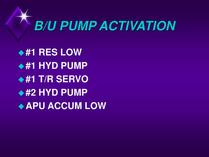 B/U PUMP ACTIVATION