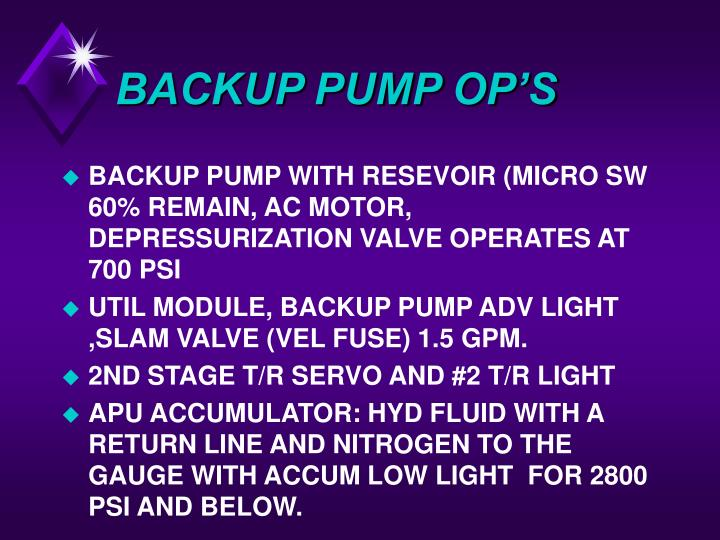 BACKUP PUMP OP'S