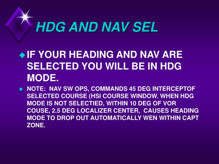 HDG AND NAV SEL