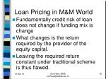 loan pricing in m m world