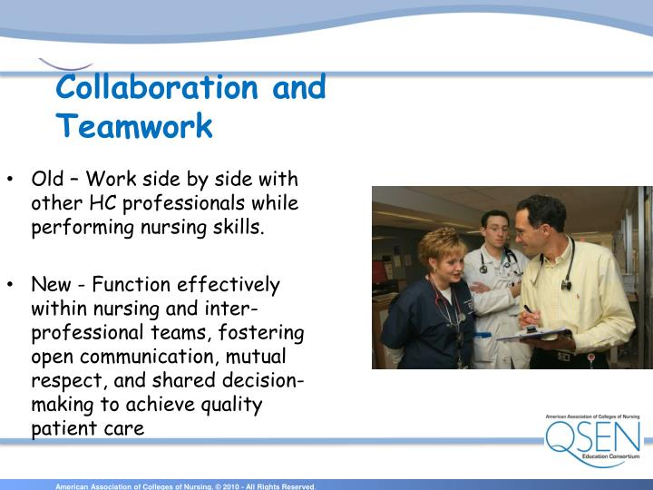 Old – Work side by side with other HC professionals while performing nursing skills.